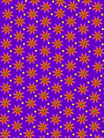 centers: Purple background is decorated with daisy shaped flowers with green centers.  Yellow polka dots decorate space between flowers.