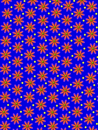 Dark blue background is covered in yellow polka dots and orange daisies. Stock Photo - 17126683