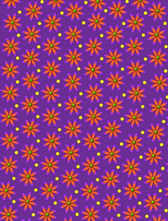 Deep purple background has orange daisies and yellow polka dots. photo
