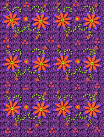 Background pattern in purples, is decorated with vivid orange flowers.  Green polka dots form swirling pattern. photo