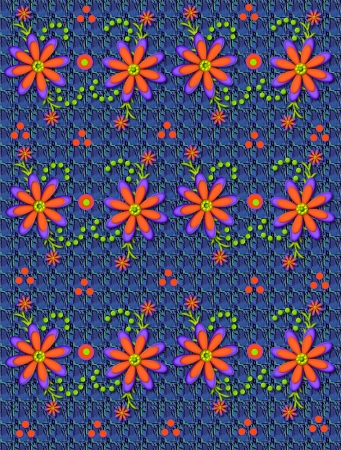 Background pattern in blues is decorated with vivid orange flowers.  Green polka dots form swirling pattern. photo