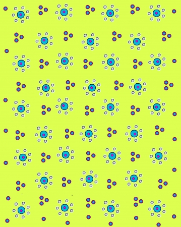 Seven white circles form petals on aqua centered daisy-like flowers.  Flowers are sprinkled across a yellow background.  Polka dots in pink and aqua fill spaces between flowers. photo