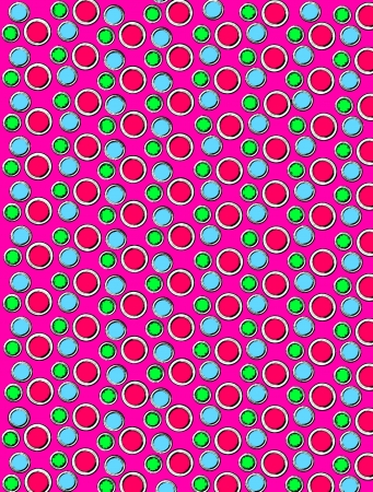 2d wallpaper: Background image is filled with circles and dots.  White border encircles each polka dot.  Ink outlined polka dots fill hot pink background.