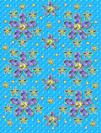 Blue covered in yellow polka dots serves as background for clusters of large and small, plaid fabric, flowers.  Purple encircled yellow polka dots sprinkle background.
