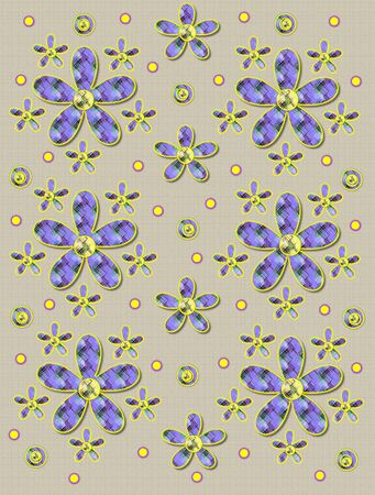 Cream, linen-like background has clusters of large and small, plaid fabric, flowers.  Purple encircled yellow polka dots sprinkle background.