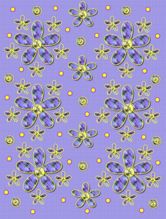 Lilac linen-like background has clusters of large and small, plaid fabric, flowers.  Purple encircled yellow polka dots sprinkle background.