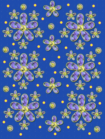 speckle: Blue speckled background is covered in clusters of large and small, plaid fabric, flowers.  Purple encircled yellow polka dots sprinkle background.