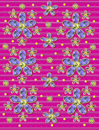 Hot pink covered in white stripes serves as background for clusters of large and small, plaid fabric, flowers.  Purple encircled yellow polka dots sprinkle background.