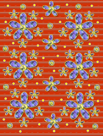 Orange covered in white stripes serves as background for clusters of large and small, plaid fabric, flowers.  Purple encircled yellow polka dots sprinkle background. photo