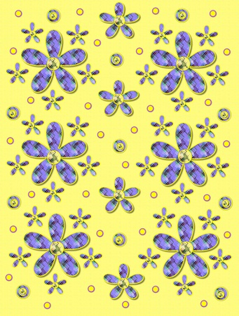 Yellow serves as background for clusters of large and small, plaid fabric, flowers.  Purple encircled yellow polka dots sprinkle background. photo