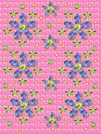 Pink patterned background has clusters of large and small, plaid fabric, flowers.  Purple encircled yellow polka dots sprinkle background.