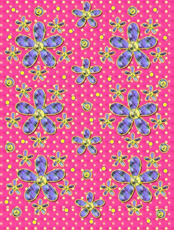 Blue linen-like background has clusters of large and small, plaid fabric, flowers.  Purple encircled yellow polka dots sprinkle background.