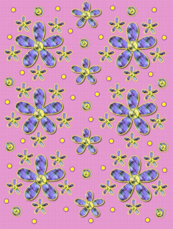 Pink linen-like background has clusters of large and small, plaid fabric, flowers.  Purple encircled yellow polka dots sprinkle background.