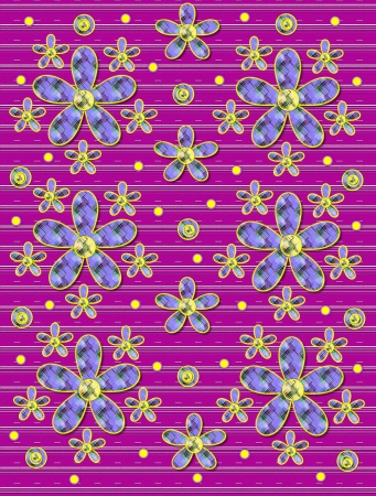 Purple covered in white stripes serves as background for clusters of large and small, plaid fabric, flowers.  Purple encircled yellow polka dots sprinkle background. photo
