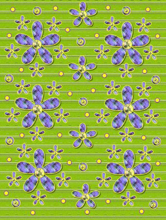 Lime green covered in white stripes serves as background for clusters of large and small, plaid fabric, flowers.  Purple encircled yellow polka dots sprinkle background. photo