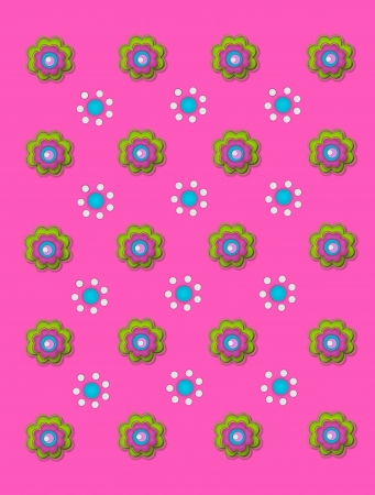 Two flower designs decorate bright pink background.  One flower is made up of green, pink and aqua layers.  The other flower is made up of white and aqua polka dots.