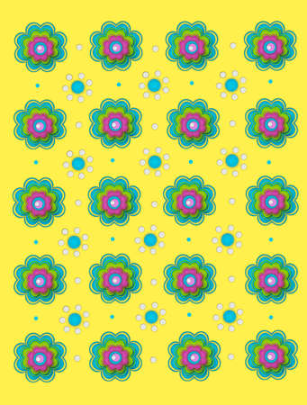 Two flower designs decorate bright yellow background.  One flower is layered in aqua, pink and green.  The second flower is aqua and white polka dots. photo