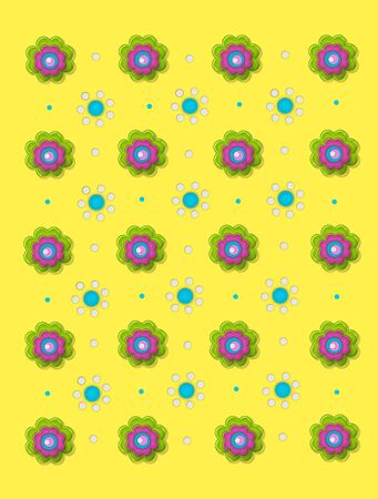 Two flower designs decorate bright yellow background.  One flower is made up of green, pink and aqua layers.  The second flower is made of aqua and white polka dots.