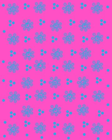 basic shapes: Pink background is covered flowers and dots.  Flowers are basic shapes and polka dots have a dot in center.