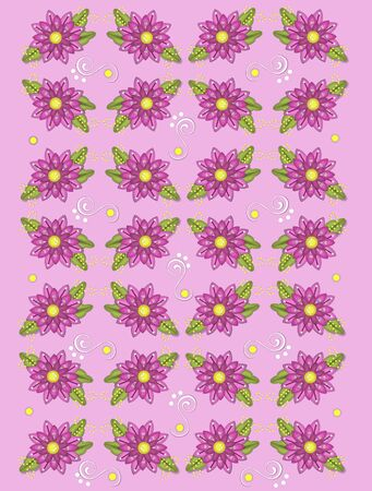 Background image called Garden Geraniums is pale pink with four layer graphic geraniums also in pink.  White curls and dots decorate between flowers.