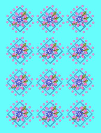 Aqua background is covered in large and small garden trellis.  Pink polka dots surround trellis and a pink corsage style flower complete with tiny dot bows. Stock Photo