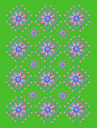 Green background is covered in large and small garden trellis.  Pink polka dots surround trellis and a pink corsage style flower complete with tiny dot bows.