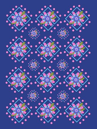 Navy blue background is covered in large and small garden trellis.  Pink polka dots surround trellis and a pink corsage style flower complete with tiny dot bows. Stock Photo