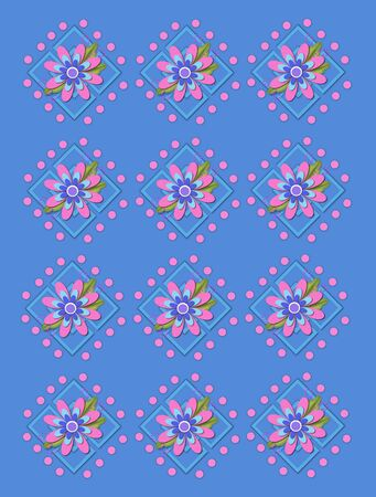 Powder blue background is covered in large and small garden trellis.  Pink polka dots surround trellis and a pink corsage style flower complete with tiny dot bows. Stock Photo - 17126569