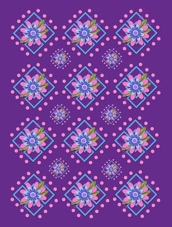 Purple background is covered in large and small garden trellis.  Pink polka dots surround trellis and a pink corsage style flower complete with tiny dot bows. Stock Photo