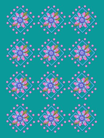 Teal background is covered in large and small garden trellis.  Pink polka dots surround trellis and a pink corsage style flower complete with tiny dot bows.