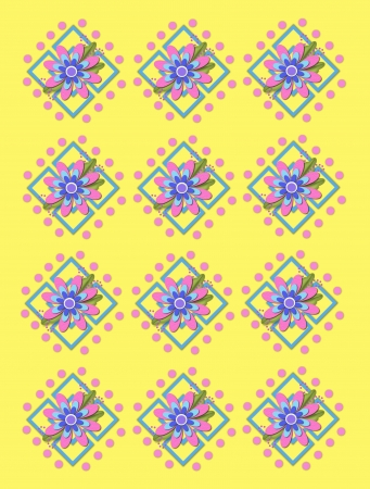 Yellow background is covered in large and small garden trellis.  Pink polka dots surround trellis and a pink corsage style flower complete with tiny dot bows. Stock Photo