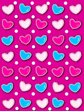 Hot Pink background has 3D hearts surrounded by tiny, cream colored pearls.  White polka dots are outlined in blue and pink. photo