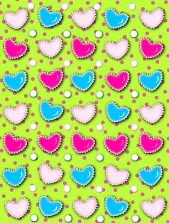 Lime green background has polka dots and 3D hearts surrounded by tiny, cream colored pearls.  White polka dots are outlined in blue and pink. photo