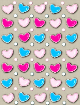 Tan linen-style background has 3D hearts surrounded by tiny, cream colored pearls.  White polka dots are outlined in blue and pink. photo