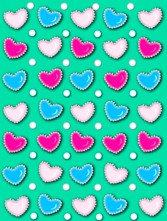 Turquoise background has 3D hearts surrounded by tiny, cream colored pearls.  White polka dots are outlined in blue and pink.