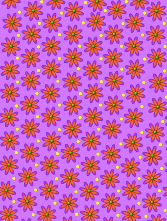 centers: Lilac colored background is covered in orange diaisies with green centers.  Yellow polka dots decorate space between flowers.