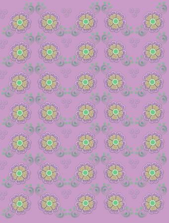 polka dotted: Fondo rosa silenciado est� decorada con delicadas flores polka puntos en lila y amarillo. Remolinos verdes y puntos decorar flores. Foto de archivo