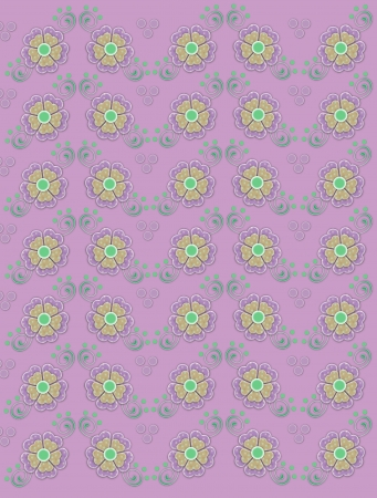 Muted pink background is decorated with dainty polka dotted flowers in lilac and yellow.  Green swirls and dots decorate flowers. photo