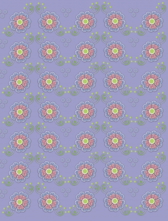 muted: Muted periwinkle blue background is decorated with polka dotted flowers in blue and pink.  Green swirls and dots decorate flowers.