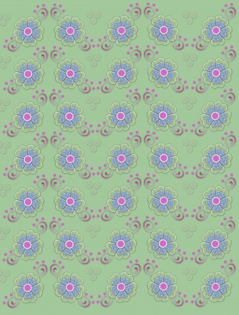 muted: Muted green background is decorated with polka dotted flowers in green and blue.  Pink swirls and dots decorate edges of flowers.