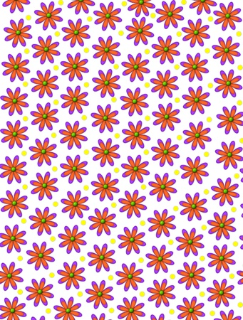 centers: White background has orange, daisy shaped flowers with green 3D centers.  Yellow polka dots decorate space between flowers.