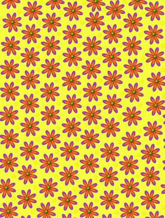 centers: Orange, daisy shaped flowers, with green centers, cover background.  Yellow polka dots decorate space between flowers. Stock Photo