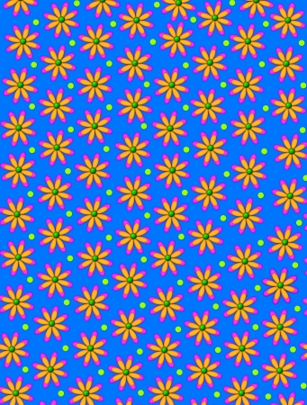 centers: Bright blue background is decorated with orange, daisy shaped flowers with green centers.  Green polka dots decorate space between flowers. Stock Photo