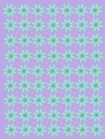Pale lilac background is decorated with turquoise diaises and purple polka dots.