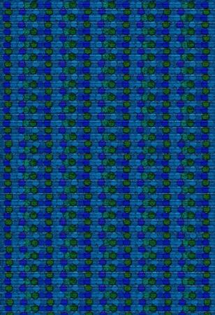 Background image is filled with rows of circles, dots and beads.  Blue, green and aqua dots cluster together in parrallel rows down image. photo