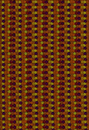 Background image is filled with rows of circles, dots and beads.  Browns and yellow and orange dots cluster together in parrallel rows down image. photo