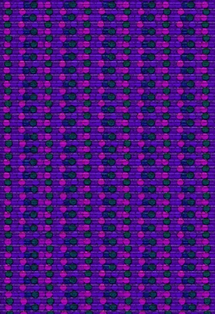 Background image is filled with rows of circles, dots and beads.  Purple, pink and blue dots cluster together in parrallel rows down image. photo