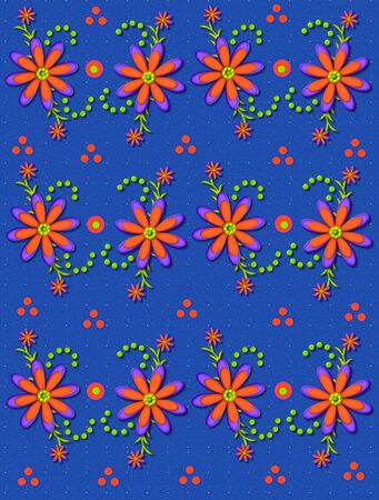 3D daisies in orange and purple top a bright blue background.  Orange polka dots and green beads decorate around flower. photo