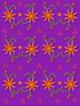Purple background is speckled with white.  Orange and purple daisies form floral cluster with leaves, curls and polka dots. photo