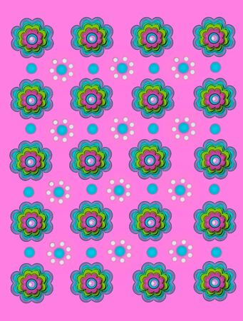Scallop flowers and polka dot flowers decorate bright pink background.